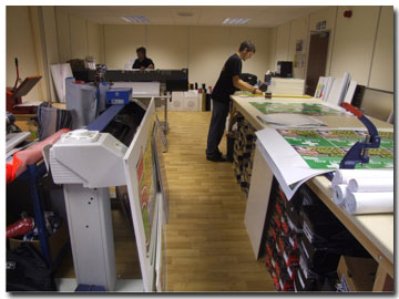 Banners being printed