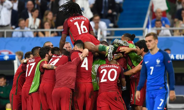 Portugal celebrating euro 2016 victory
